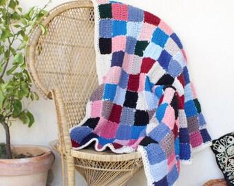 Vintage 70's Patchwork Crochet Blanket