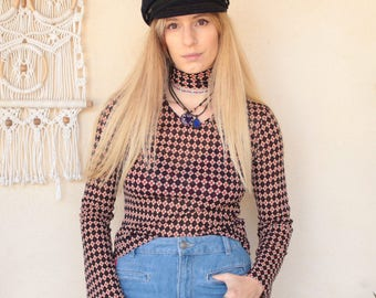 Vintage 90's Checked Bell Sleeve Top