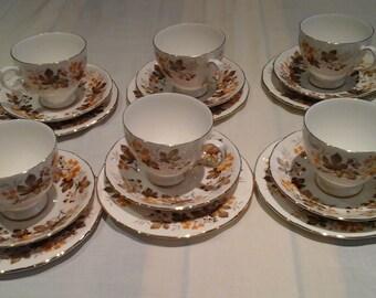 Royal Vale Bone China 18-piece Tea Set in Autumnal pattern