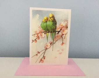 Vintage Birds Card, Parakeet Card, Easter Card, Spring Card, Mother's Day Card