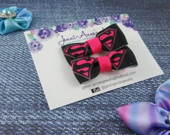 Bow Tie Hair Clip - Set of 2 - Super Girl