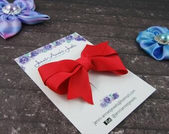 Pinwheel Hair Bow Clip - Reds