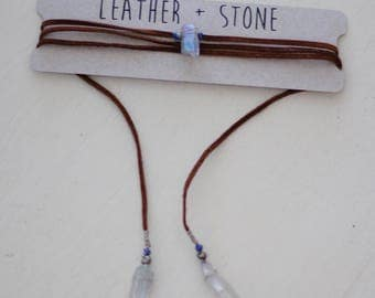 Crystal Leather Wrap necklace