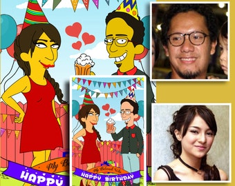 Custom Portrait, Couple Portrait, Couple Drawing, Simpsons Portrait, Cartoon Portrait, Birthday Gift For Him, Birthday Gift Ideas
