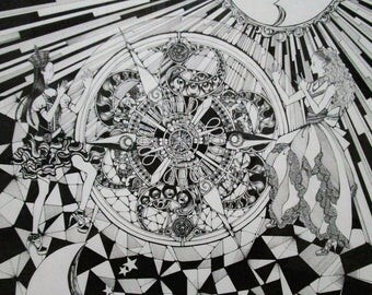 Movement and stillness Ink Doodle drawing