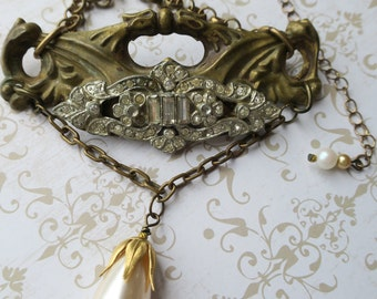 Brass Pearl and Rhinestone Necklace