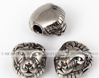 Lion head bead stainless ,  skull head beads,Men Bracelet Charms,fashion jewelry supplies, craft supplies  , 12mm,1pc