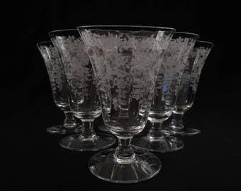 Morgantown Glass Footed Tumblers Mikado Pattern Stem # 7717