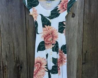 1990s grunge knee length knit sunflower dress