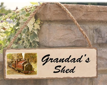 Grandads shed steam engine sign gift for him can be personalised