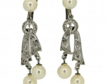 1960s Silver Tone Faux Pearl and Rhinestone Vintage Drop Earrings