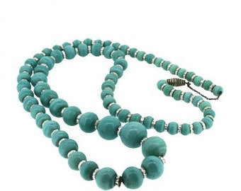 Bead Necklace Turquoise 1920s Czechoslovakian Glass Bead and Silver Tone Vintage Necklace