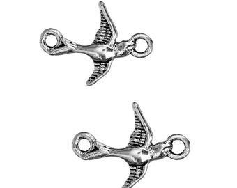 10 pc Antique Silver Swallow Bird Connectors
