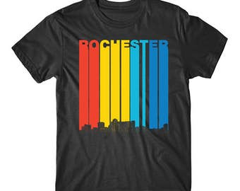 Vintage 1970's Style Rochester Minnesota Skyline T-Shirt