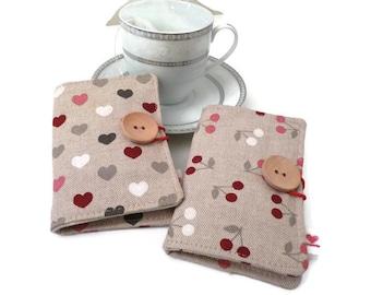 Travel tea bag holder,Tea Wallet , tea bag wallet, tea organizer, Linen Tea Wallet, cherries, hearts - Set of 2 - gift for her