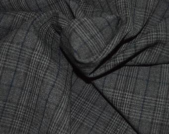 """Dark Chocolate/Charcoal/Multi Plaid Stretch Suiting Fabric 56""""Wide"""