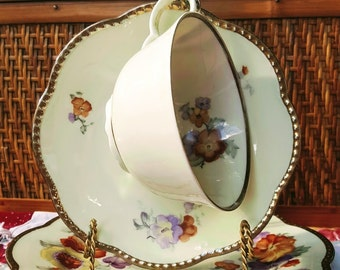 Vintage German Teacup Trio from Schumann Bavaria Floral on Ivory Matte Gold Scalloped Rim Tea cup Saucer Dessert Plate