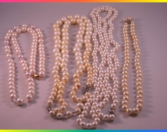 Lot of Four Faux Pearl Single and Double Strand Necklaces