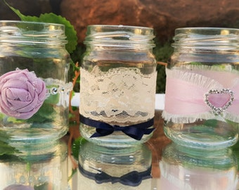 3 small Decorated Jars 8.7cm high ~ Wedding Decorations, Wedding Centerpiece, DIY wedding, Weddings, votive jar, posy jar