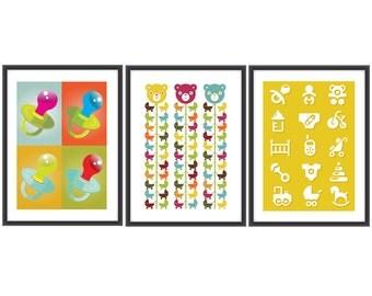 Set of 3 Nursery A4 posters Nursery retro print Nursery poster, Nursery art Nursery retro poster Mid century Nursery poster
