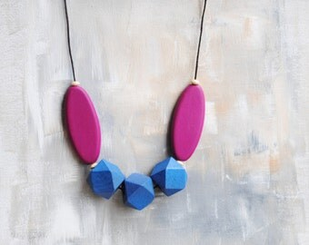 Geometric Necklace, Boho necklace, Statement Necklace, Bohemian Jewelry, Handmade necklace, Wooden necklace Blue and Fuschia