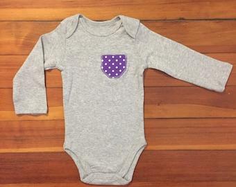 6-9 Months: Polka-Dot Long Sleeve Onesie
