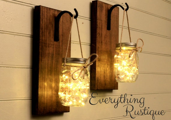 Mason Jar Sconce Mason Jar Decor Mason Jar Lantern Wall