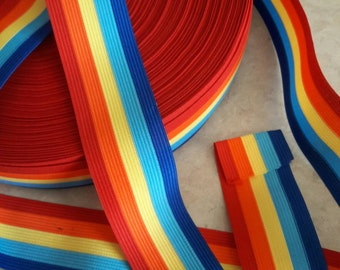 "1 3/4"",  Rainbow color Trim, Stripe Red, yellow, orange, turquoise, Blue, Ribbon, lace, gift wrap, polyester TRIM, Stripe trims, multi color"