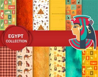 Egyptian Digital Paper - Ancient Egypt, Pyramid Digital Paper, Camel Paper, Pharaoah Scrapbooking Paper, Anubis Digital Paper