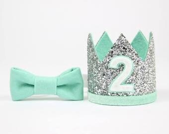 2nd Birthday Crown | Boy Birthday Glitter Party Hat | 2nd Birthday Photo Prop | Silver + Mint 2