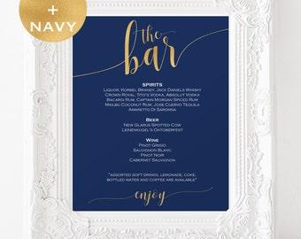 Navy and Gold Bar menu wedding - Bar menu sign - Drinks Sign - Bar menu printable - Wedding Printable - Downloadable wedding signs #WDH0231