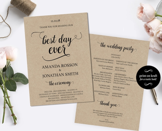 printable wedding program template diy wedding program