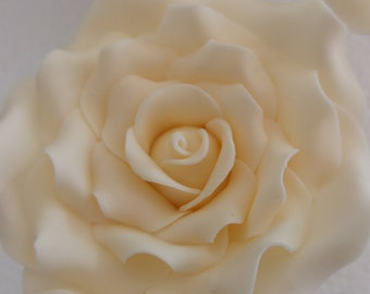 """Large 3 1/3"""" Wired Sugar Roses Available in White-Ivory-Dusky-Pale Pink-Fuchsia Wedding-Anniversary-Birthday Cake Topper Decorations"""