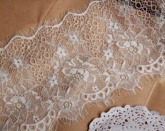 "3 Yards IRIZ Eyelash Floral Embroidery Lace Trim of 6"" Width"