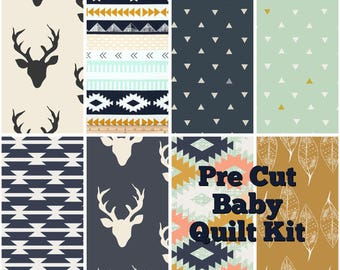Pre Cut Baby Quilt Kit-Nursery Bedding-Kids Room Deco-boy