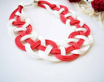 Statement necklace/ White necklace/ Red necklace/Parachute cord/Trendy necklace/Knotted necklace