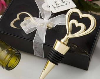Wine Stoppers-Wedding Favors-Wedding Favors for Guest-  Wine Stopper-Gold-Double Heart