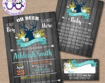 Rustic Wood Oh Deer Baby Shower Invitation Boy Girl Gender Neutral Book Request & Diaper Raffle Cards