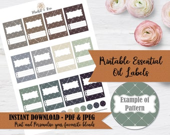 Printable Essential Oil Labels - 10ml Rollerball Labels Geometric Pattern in Neutral Colors