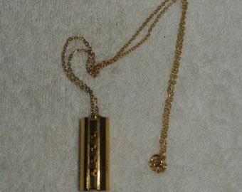 Vintage Gold Tone Round Playing Harmonica Pendant Necklace