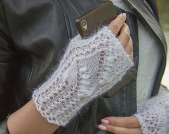 Fingerless wedding gloves Lily of the valley Bridal fingerless Goat wool Fingerless mitts Lace fingerless Texting gloves Boho knit gloves