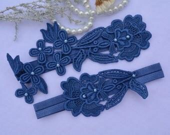 Wedding Garter, Blue Garter Set, Lace Garter Set, Lingerie & Garter, Wedding Garter, Bridal Garter,Garter, Blue Lace Garter, Handmade Garter