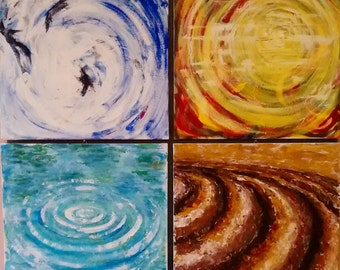 Fire, air, water, Earth, the four elements, acrylic painting on canvas.