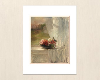 Flowers on a Window Ledge by John La Farge - Art Paintings from the 1800s - Archival Art Painting Prints