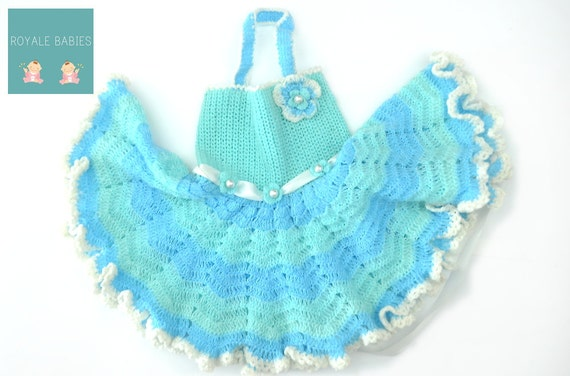 Blue and white Dress, Crochet Baby Dress, Infant Girl Clothes,Baby Girl Apparel, Newborn Frock, Baby Dress, blue and white, Christmas baby