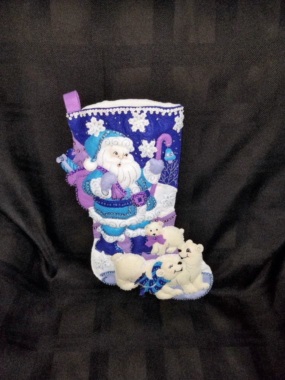 "ARCTIC SANTA 18"" Bucilla Felt Christmas Stocking"
