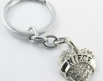 Rhinestone Niece Heart Charm Keychain Keyring 76mm (KC055)