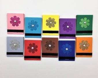 Glitter Flower Matchbook Notepads, set of 10, one of each color