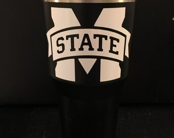 MSU Mississippi State Bulldogs M State in White on Black Ozark Trail 20 oz & 30 oz tumblers NEW