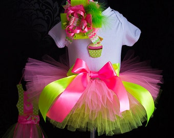 Lime green & pink tutu birthday outfit 1st 2st 3st Birthday tutu outfit Birthday Tutu Set baby tutu from Europe